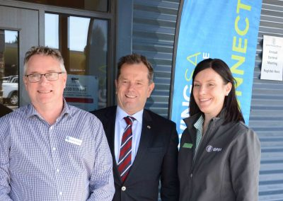 Minister for Primary Industries and Regional Development Tim Whetstone is flanked by Livestock SA CEO Candrew Curtis and GPSA CEO Caroline Rhodes.