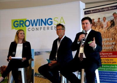 Growing SA MC Belinda Cay with Livestock SA president Joe Keynes and GPSA chair Wade Dabinett during one of the panel sessions.