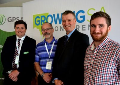 GPSA chair Wade Dabinett with grain sessions speakers Dr Stuart Smyth, Canada, Andrew Weidemann, Rupanyup, Victoria, and Mecardo's Andrew Whitelaw.
