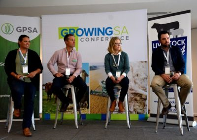 On the Emerging Leaders panel at Growing Sa were Natalie Sommerville, Spalding; Jared Sampson, Warramboo; Fiona Rasheed, Kingston, and Jamie Heinrich, Parndana.