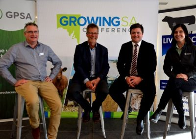 Livestock SA CEO Andrew Curtis and president Joe Keyne with GPSA chair Wade Dabinett and CEO Caroline Rhodes.